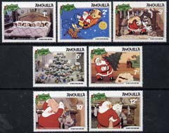 Anguilla 1981 Christmas short set to 12c showing scenes from Walt Disneys The Night Before Christmas, SG 475-81 unmounted mint, stamps on disney, stamps on christmas
