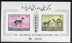 Afghanistan 1961 Farming Day imperf m/sheet  unmounted mint, Mi Bl 8B