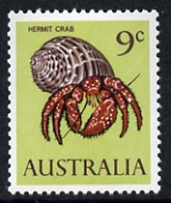 Australia 1966-73 Hermit Crab 9c from decimal def set unmounted mint, SG 390