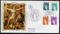 France 1978 detail of 'Sabine Women' by J L David silk illustration on cover with commemorative postmark dated 31st March 1978