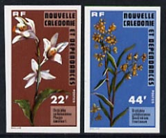New Caledonia 1977 Orchids 22f & 44f IMPERF, unmounted mint as SG 581-82