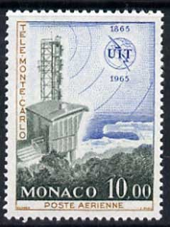 Monaco 1965 Monte Carlo television transmitter 10f unmounted mint, from ITU Centenary set, SG 830