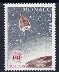 Monaco 1965 Relay satellite 12c unmounted mint, from ITU Centenary set, SG 821