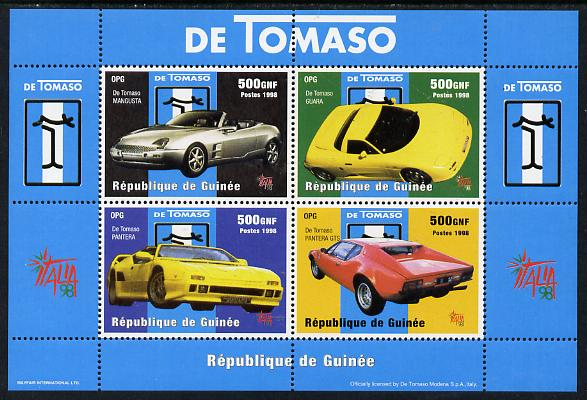 Guinea - Conakry 1998 De Tomaso Cars perf sheetlet containing 4 values unmounted mint. Note this item is privately produced and is offered purely on its thematic appeal