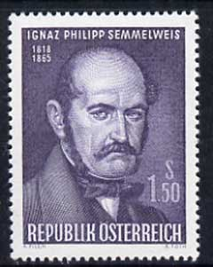 Austria 1965 Death Cent of Ognaz Semmelweis (physician) 1s50 unmounted mint, SG 1455