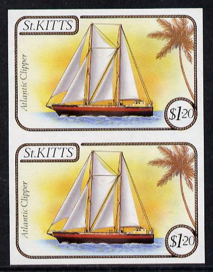 St Kitts 1985 Ships $1.20 (Atlantic Clipper Schooner) imperf pair (SG 174var), stamps on ships
