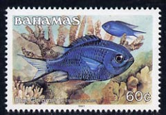 Bahamas 1987 Blue Chromis 60c (1987 imprint date) unmounted mint, SG 797, stamps on fish