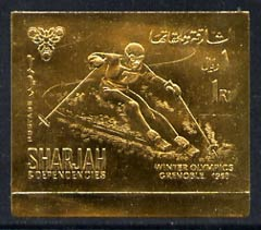 Sharjah 1968 Grenoble Winter Olympics 1R Skiing (Postage) embossed in gold foil, imperf unmounted mint, Mi 464B