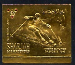 Sharjah 1968 Grenoble Winter Olympics 1R Skiing (Airmail) embossed in gold foil, imperf unmounted mint, Mi A464B