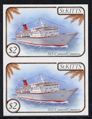 St Kitts 1985 Ships $2 (Cunard Liner) imperf pair (SG 176var) unmounted mint