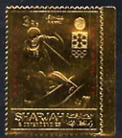 Sharjah 1971 Sapporo Winter Olympics 3R Skier embossed in gold foil, perf unmounted mint, Mi 837A