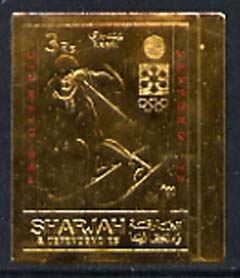 Sharjah 1971 Sapporo Winter Olympics 3R Skier embossed in gold foil, imperf unmounted mint, Mi 837B