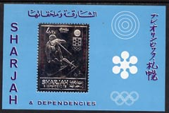 Sharjah 1971 Sapporo Winter Olympics 3R m/sheet Skier embossed in silver foil, unmounted mint, Mi BL88