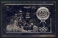 Ras Al Khaima 1972 Munich Olympics 30Dh Neuschwanstein Palace embossed in silver foil, imperf unmounted mint