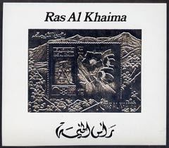 Ras Al Khaima 1972 Sapporo Winter Olympics 10R Ice Hockey & Helleborus deluxe m/sheet embossed in silver foil on shiny card, unmounted mint