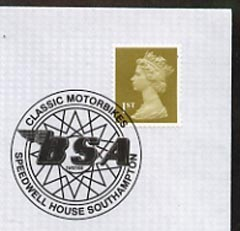 Postmark - Great Britain 2005 cover celebrating Mororcycles with illustrated Speedwell House cancel (showing BSA logo)