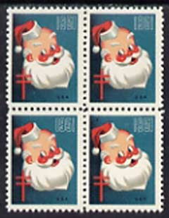 Cinderella - United States 1951 Christmas TB Seal unmounted mint block of 4, one stamp with Printer's Mark