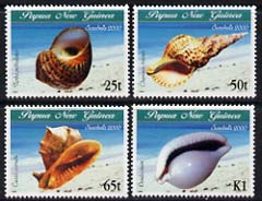Papua New Guinea 2000 Sea Shells perf set of 4 unmounted mint, SG 873-76