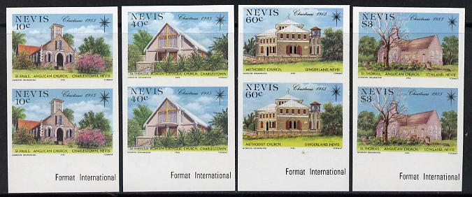 Nevis 1985 Christmas Churches set of 4 each in unmounted mint imperf pair (SG 348-51var)