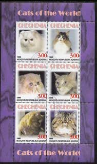Chechenia 1998 Domestic Cats perf sheetlet containing 6 values fine cto used