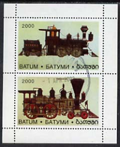 Batum 1996 Early Railway Locos perf sheetlet containing complete set of 2 values fine cto used