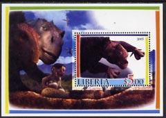 Liberia 2005 Dinosaurs #4 perf souvenir sheet fine cto used
