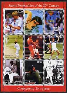 Tadjikistan 1999 Sports Personalities of the 20th Century perf sheetlet containing complete set of 9 values fine cto used