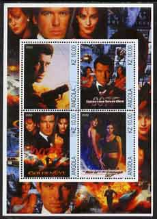 Angola 2002 James Bond (Pierce Brosnan) Movie Posters perf sheetlet containing 4 values fine cto used