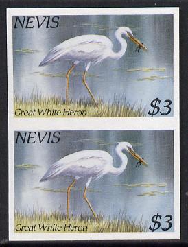 Nevis 1985 Hawks & Herons $3 (Great Blue Heron) imperf pair (SG 268var) unmounted mint