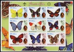 Afghanistan 2001 Butterflies imperf sheetlet containing 9 values (also showing Baden Powell and Scout & Guide Logos) unmounted mint