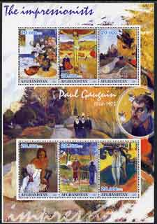 Afghanistan 2001 The Impressionists - Paul Gauguin perf sheetlet containing set of 6 values unmounted mint
