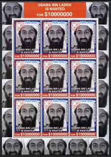 Afghanistan 2001 Usama Bin Laden perf sheetlet containing set of 9 values unmounted mint
