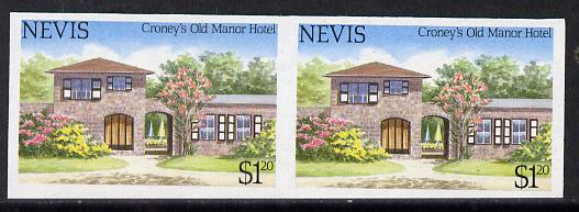 Nevis 1985 Tourism (2nd series) $1.20 (Croney's Old Manor Hotel) imperf pair (SG 245var) unmounted mint