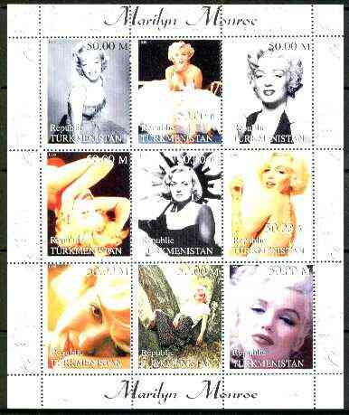 Turkmenistan 1999 Marilyn Monroe perf sheetlet containing complete set of 9 values unmounted mint