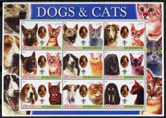 Afghanistan 2003 Dogs & Cats #1 perf sheetlet containing set of 9 values each with Scout Logo unmounted mint