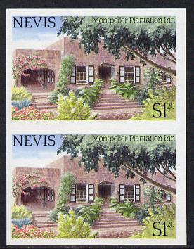 Nevis 1985 Tourism (2nd series) $1.20 (Montpelier Plantation Inn) imperf pair (SG 246var) unmounted mint