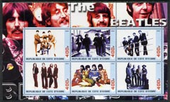 Ivory Coast 2003 The Beatles #1 perf sheetlet containing set of 6 values unmounted mint