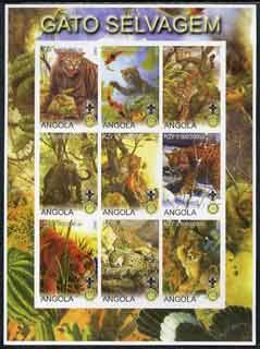 Angola 2000 Big Cats imperf sheetlet containing set of 9 values (vert format) each with Rotary & Scouts Logos, unmounted mint