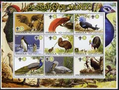 Angola 2000 Exotic Birds perf sheetlet containing set of 9 values (horiz format) each with Rotary & Scouts Logos, unmounted mint