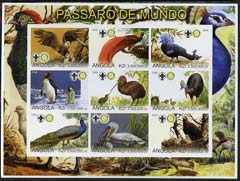 Angola 2000 Exotic Birds imperf sheetlet containing set of 9 values (horiz format) each with Rotary & Scouts Logos, unmounted mint