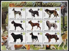 Angola 2000 Dogs perf sheetlet containing set of 9 values each with Rotary & Scouts Logos, unmounted mint