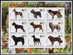 Angola 2000 Dogs imperf sheetlet containing set of 9 values each with Rotary & Scouts Logos, unmounted mint
