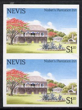 Nevis 1985 Tourism (2nd series) $1.20 (Nisbet's Plantation Inn) imperf pair (SG 247var) unmounted mint