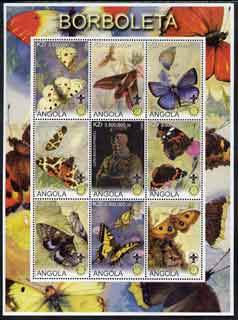 Angola 2000 Butterflies perf sheetlet #01 containing set of 9 values each with Rotary & Scouts Logos, unmounted mint