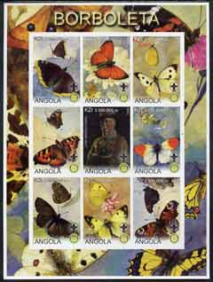 Angola 2000 Butterflies imperf sheetlet #02 containing set of 9 values each with Rotary & Scouts Logos, unmounted mint