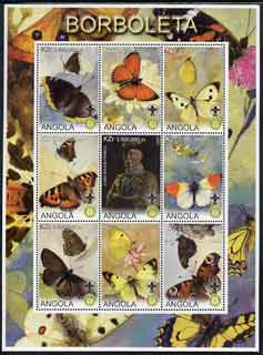 Angola 2000 Butterflies perf sheetlet #02 containing set of 9 values each with Rotary & Scouts Logos, unmounted mint