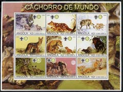 Angola 2000 Wolves perf sheetlet containing set of 9 values each with Rotary & Scouts Logos, unmounted mint