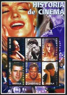 Angola 2002 History of the Cinema #01 large imperf sheetlet containing set of 6 values unmounted mint (Meryl Streep, Tom Cruise, Michelle Pfeiffer, Mel Gibson, Michael Douglas & Harrison Ford)