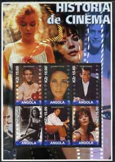 Angola 2002 History of the Cinema #03 large perf sheetlet containing set of 6 values unmounted mint (Paul Newman, Liz Taylor, Gregory Peck (inscribed Steve McQueen in err...