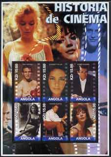 Angola 2002 History of the Cinema #03 large imperf sheetlet containing set of 6 values unmounted mint (Paul Newman, Liz Taylor, Gregory Peck (inscribed Steve McQueen in e...